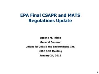EPA Final CSAPR and MATS Regulations Update