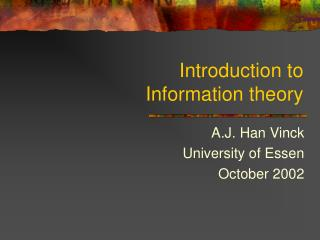 Introduction to  Information theory