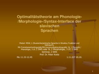 Optimalitätstheorie am Phonologie-/Morphologie-/Syntax-Interface der slavischen Sprachen
