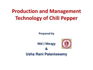 Production and Management  T echnology of Chili Pepper