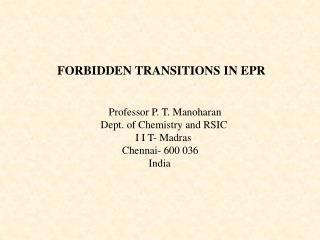 FORBIDDEN TRANSITIONS IN EPR