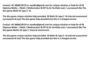 Dice game IB IA help, Maths IB HL portfolio Dice game