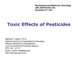 Toxic Effects of Pesticides