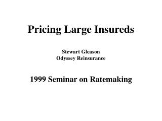Pricing Large Insureds Stewart Gleason Odyssey Reinsurance 1999 Seminar on Ratemaking