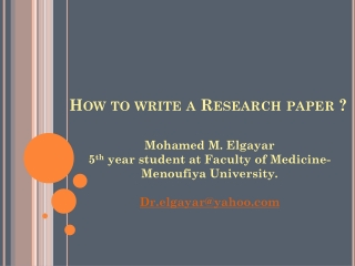 How to write a Research paper ?