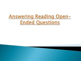 Answering Reading Open-Ended Questions