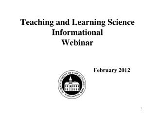 Teaching and Learning Science Informational  Webinar