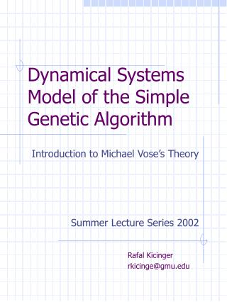 Dynamical Systems Model of the Simple Genetic Algorithm