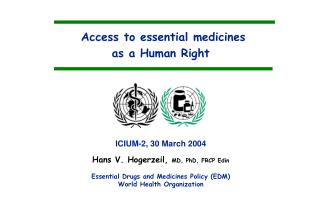 Access to essential medicines  as a Human Right