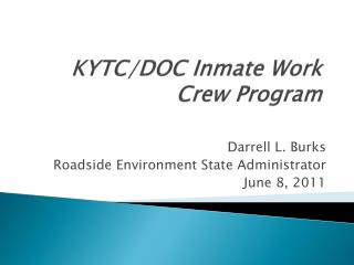 KYTC/DOC Inmate Work Crew Program