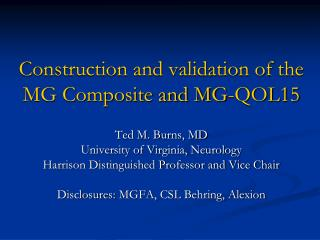 Construction and validation of the MG Composite and MG- QOL15