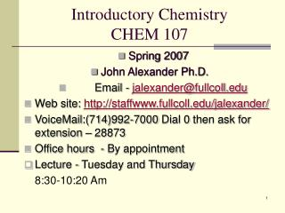 Introductory Chemistry  CHEM 107