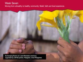 Week Seven  Moving from unhealthy to healthy community: Belief, faith and lived experience.