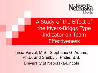 A Study of the Effect of the Myers-Briggs Type Indicator on Team Effectiveness