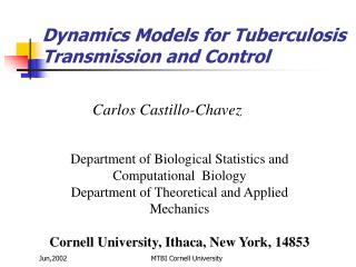 Dynamics Models for Tuberculosis Transmission and Control
