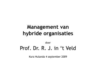 Management van  hybride organisaties