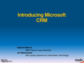 Introducing Microsoft CRM