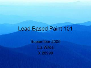 Lead Based Paint 101