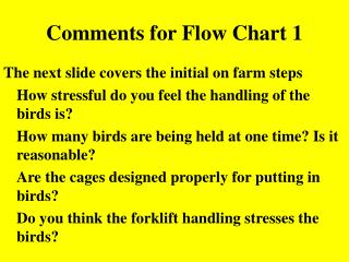Comments for Flow Chart 1