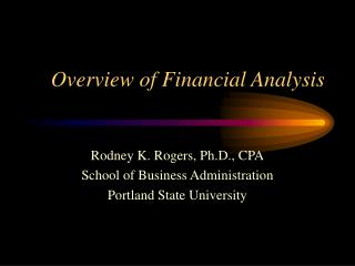 Overview of Financial Analysis