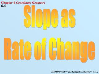 Slope as Rate of Change
