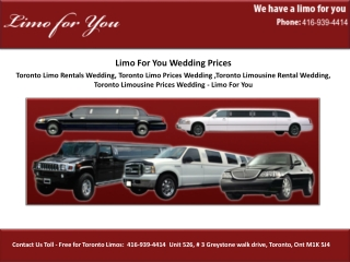Toronto Limo Rentals Wedding, Toronto Limo Prices Wedding ,T