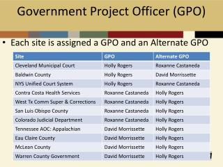 Government Project Officer (GPO)