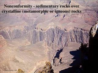 Nonconformity - sedimentary rocks over crystalline metamorphic or igneous rocks