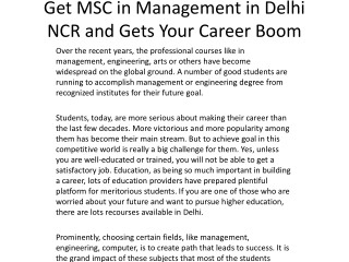 Get MSC in Management in Delhi NCR and Gets Your Career Boom