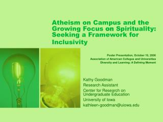 Atheism on Campus and the Growing Focus on Spirituality: Seeking a Framework for Inclusivity