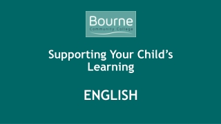 Supporting Your Child's Learning ENGLISH