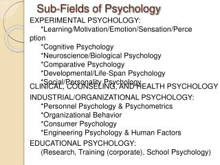 Sub-Fields of Psychology