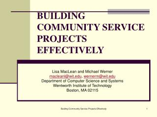 BUILDING COMMUNITY SERVICE PROJECTS EFFECTIVELY