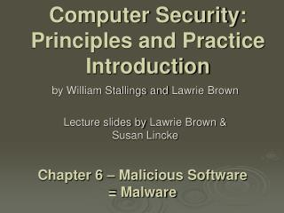 Computer Security: Principles and Practice Introduction