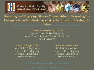 Reaching and Engaging Diverse Communities in Preparing for Emergencies in California: Assessing the Present, Charting th