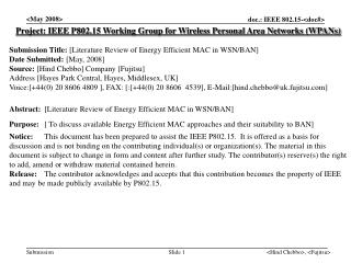 Project: IEEE P802.15 Working Group for Wireless Personal Area Networks (WPANs) Submission Title:  [ Literature Review o