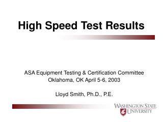 High Speed Test Results