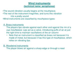 Wind instruments (technical name: aerophones)