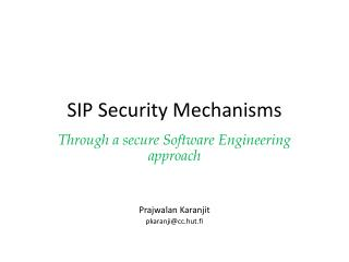 SIP Security Mechanisms