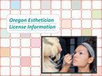 Oregon Esthetician License Information
