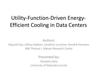 Utility-Function-Driven Energy-Efficient Cooling in Data Centers
