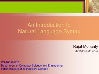 An Introduction to  Natural Language Syntax