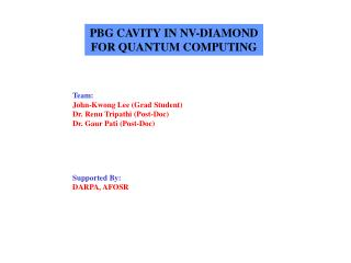PBG CAVITY IN NV-DIAMOND FOR QUANTUM COMPUTING