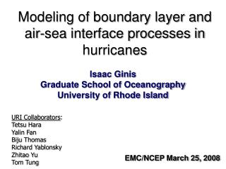 Modeling of boundary layer and air-sea interface processes in hurricanes
