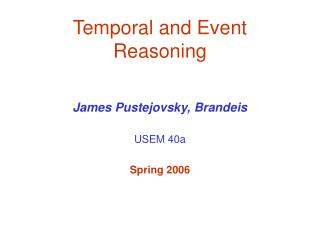 Temporal and Event Reasoning