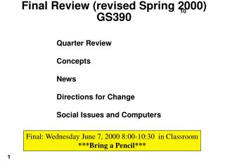 Final Review (revised Spring 2000) GS390