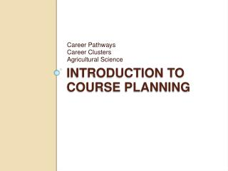 Introduction to Course Planning