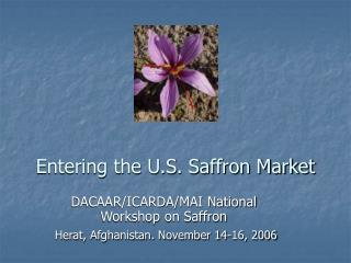 Entering the U.S. Saffron Market