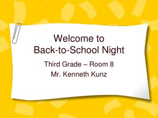 Welcome to  Back-to-School Night