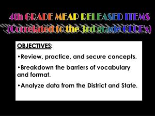 4th GRADE MEAP RELEASED ITEMS (Correlated to the 3rd grade GLCE's)